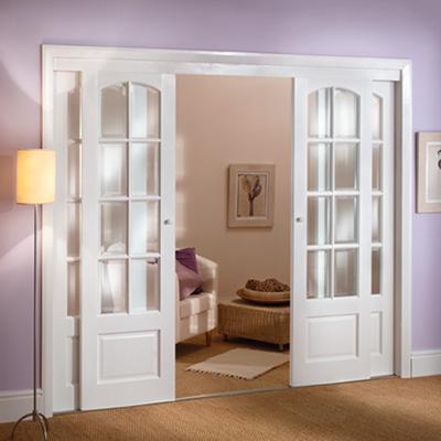 Puertas correderas de salón blancas